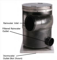 "Commercial 12"" Outlet Vortex Rainwater Filter for Above or Below Grade Application"