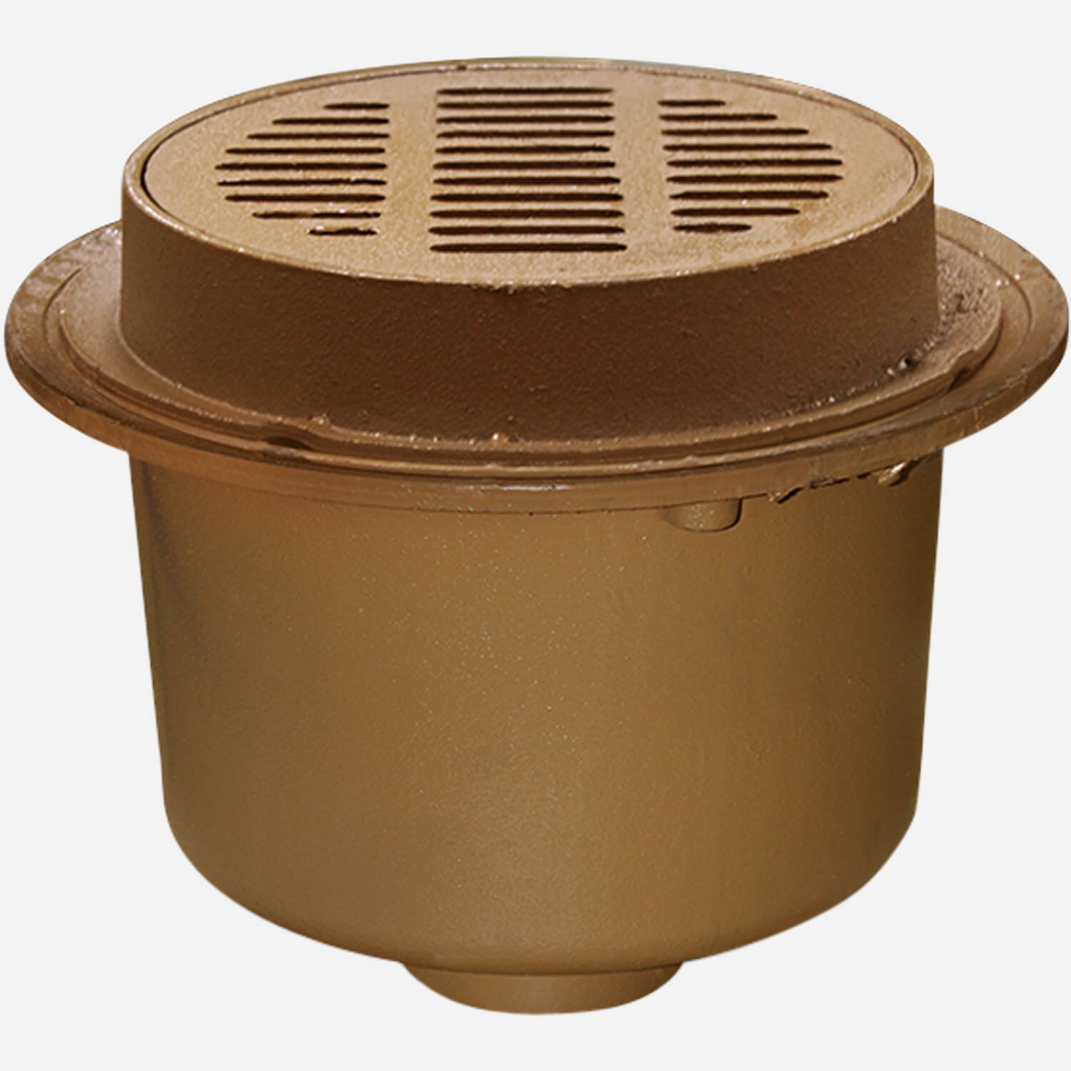 """Deep Body Heavy Duty Floor Drains with 12"""" Round Tops and Tractor Grate"""