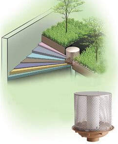 "fig# 1901 Roof Planter Drain and Overflow Standpip® with 5/8"" Orifice to Meter Standpipe with 5/8"" Orifice to Meter Rainwater"