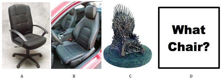 four different chairs, desk chair, car seat, throne, what chair