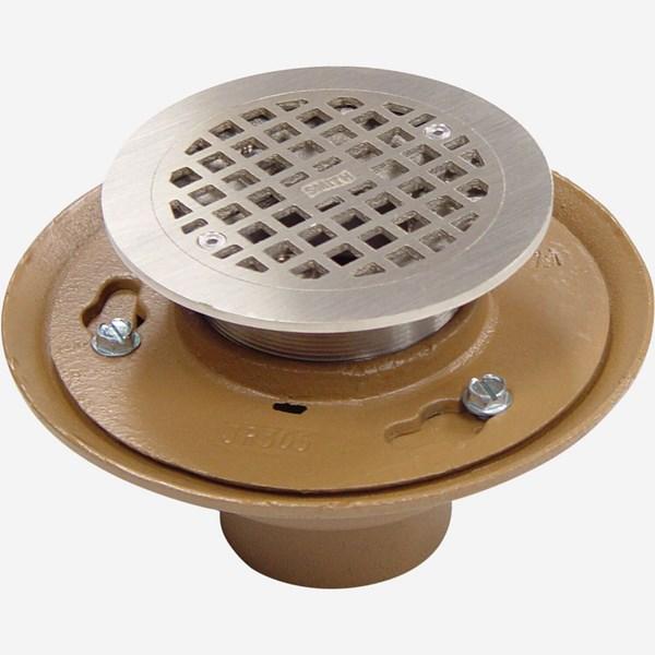 Floor Drain Elevation : Flashing strainer type floor drain jay r smith