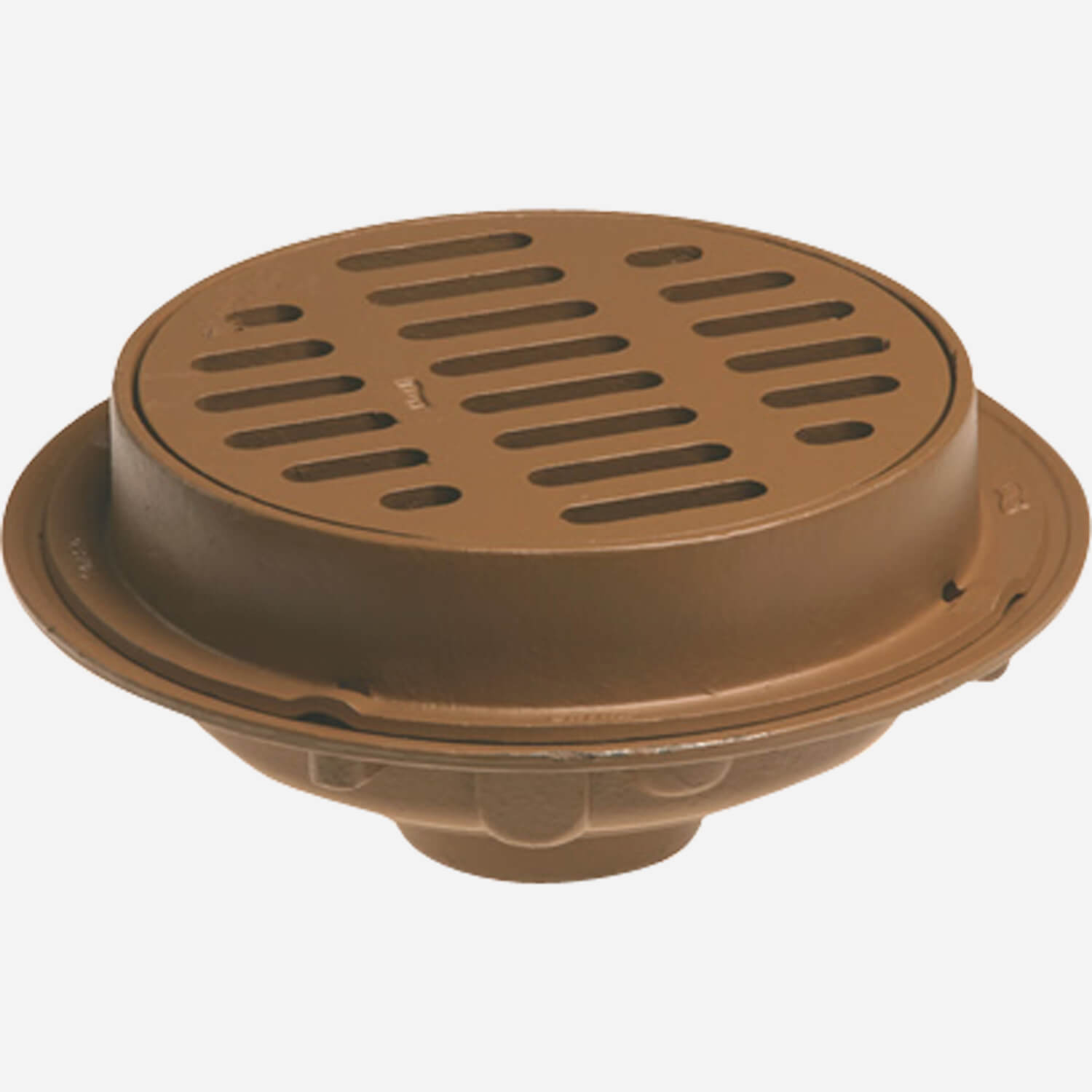 """Side Outlet Heavy Duty Floor Drains with 12"""" Round Tops and Tractor Grate"""