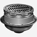 "Medium Duty Floor Drains with 12"" Adjustable Round Tops and Sediment Bucket"