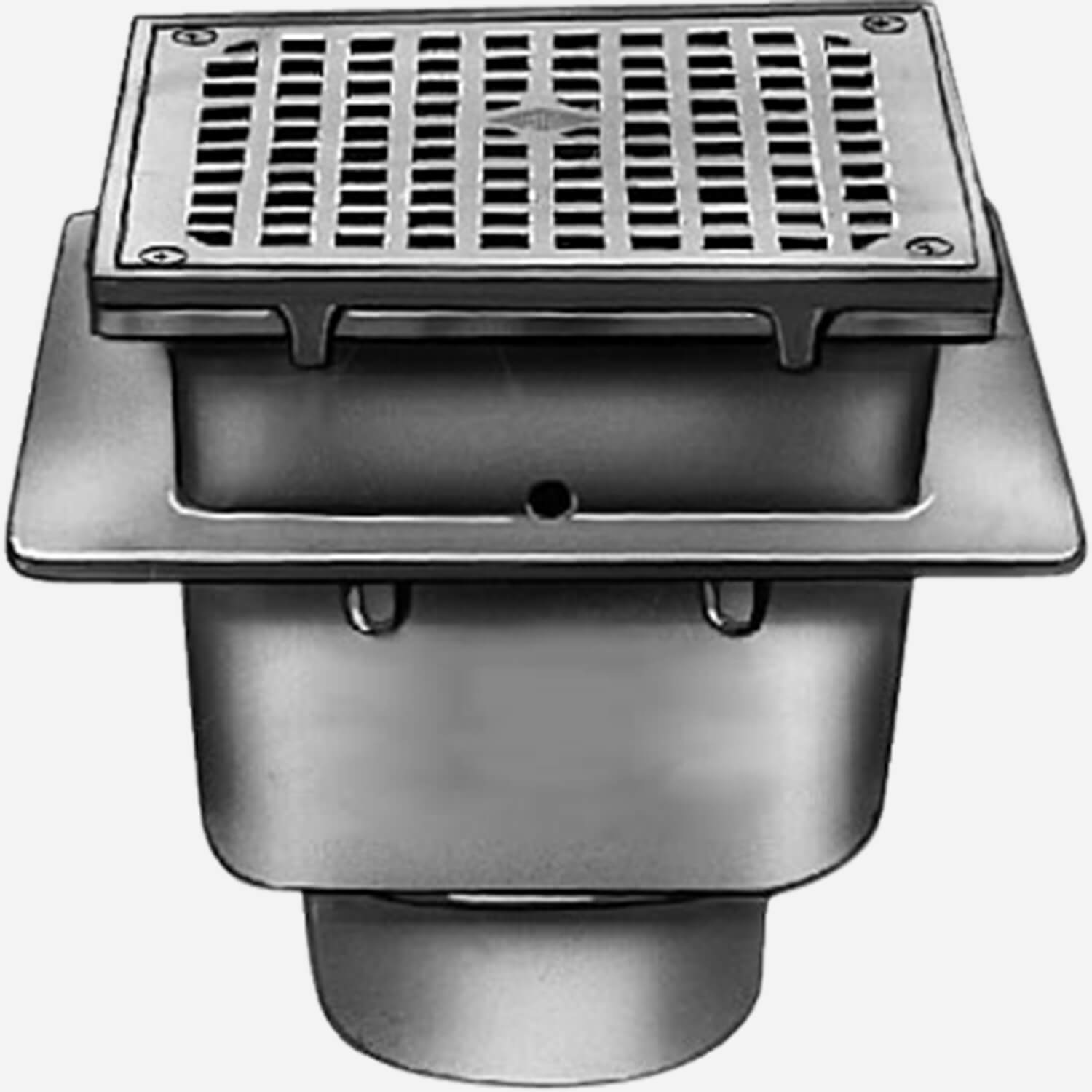 Sani-Ceptor® Sanitary Acid Resistant Coated Sanitary Floor & Indirect Waste Drains with Medium Receptor and Square Nickel Bronze Top