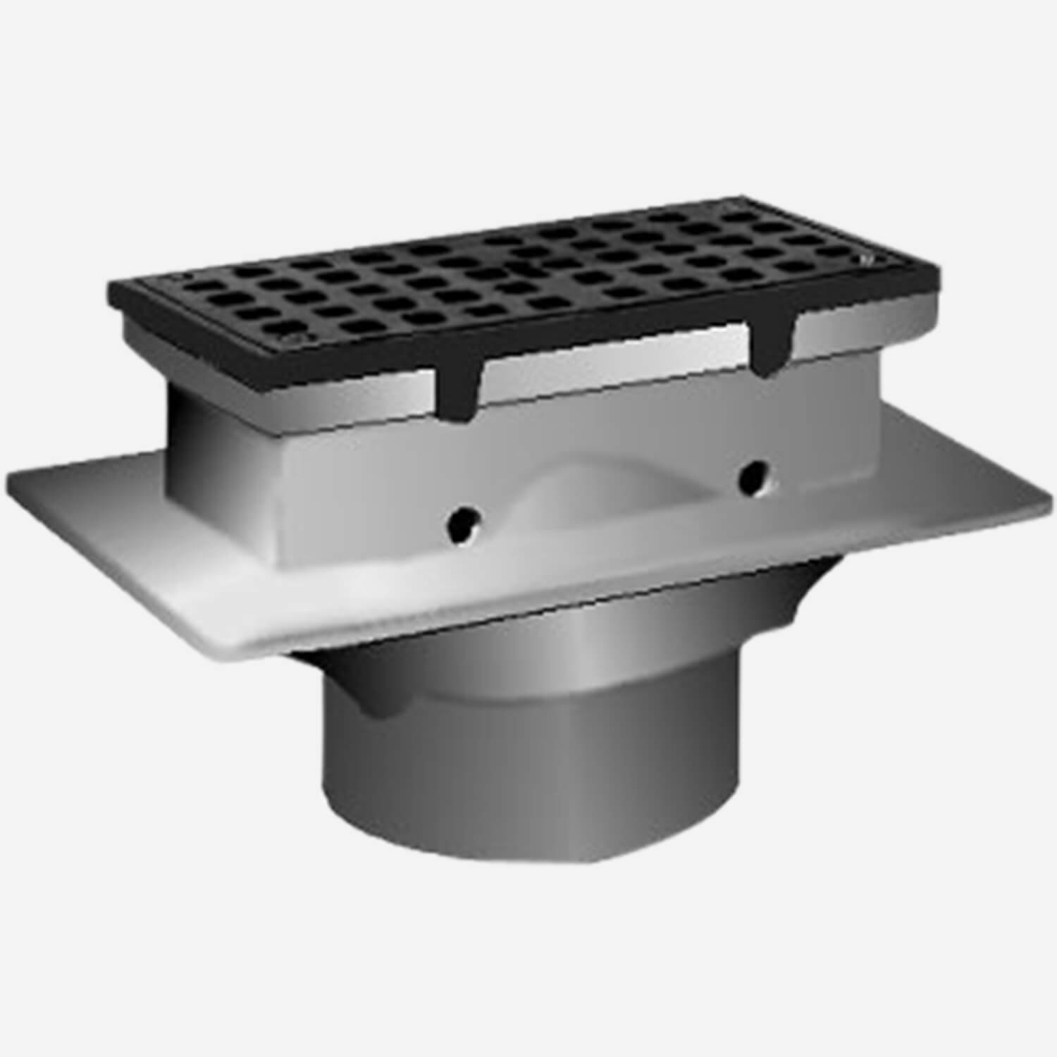 Sani-Ceptor® Sanitary Acid Resistant Coated Sanitary Floor and Indirect Waste Drains with Shallow Receptor and Rectangular Nickel Bronze Top