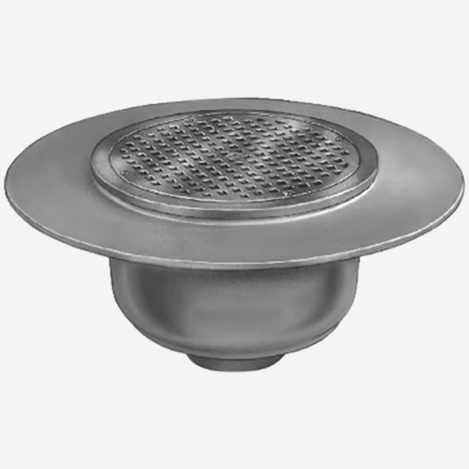 Sani-Ceptor® Sanitary Acid Resistant Coated Sanitary Floor and Indirect Waste Drains with Deep Receptor, Wide Flange and Round Nickel Bronze Top