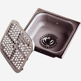 Sani-Ceptor® Stainless Steel Floor Drain, Square Stainless Steel and Nickel Bronze Top