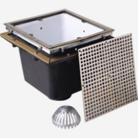 Sani-Ceptor® Sanitary Acid Resistant Coated Sanitary Floor and Indirect Waste Drains with Extra Deep Receptor and Square Nickel Bronze Top