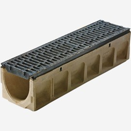 "10"" Wide 'Pre-Sloped' Polymer Concrete Trench Drain System with Ductile Iron Edge Rail for Extra Heavy Applications - Powerdrain®"
