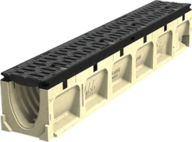 "6"" Wide 'Pre-Sloped' Polymer Concrete Trench Drain System with Ductile Iron Edge Rail for Extra Heavy Applications- Powerdrain®"