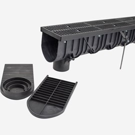 "12"" Wide Polypropylene Trench Drain System - Zip Trench™"