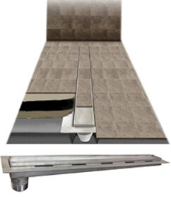 fig# SQ-TD-0303 Stainless Steel Fabricated Pre-Sloped Body With Loose Set Tile In-Lay Tray
