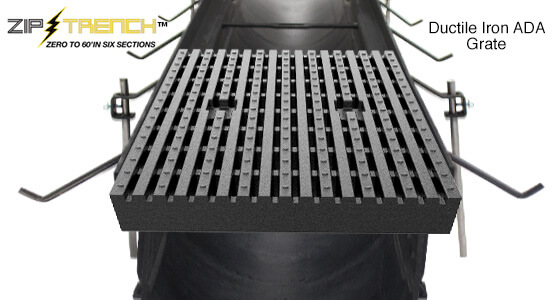 "Ductile Iron ADA Trench Drain Grate 12"" Wide"