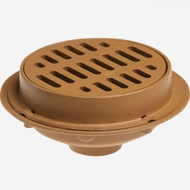 "Heavy Duty Floor Drains with 12"" Round Tops and Tractor Grate"