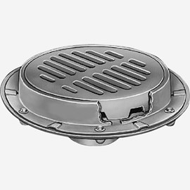 "Heavy Duty Floor Drains with 15"" Round Tractor Grate Tops"