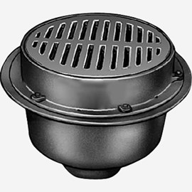 Heavy Duty Large Capacity Floor Drains with Sediment Bucket and  Round Tractor Grate Tops