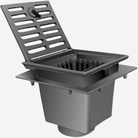 "Traffic Floor Drain with 12"" Square Top and Free Standing Bucket"