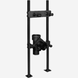 Pro-Set Upright with Supporting Stud, Adjustable Coupling and Waste Fitting Caulk and Vent for Back Outlet Flushing Rim Service Sink - Floor Mounted