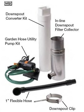 In-line Above Grade Garden Rainwater Harvesting Package for Roof Area Up to 1,600 Sq. Ft. at a Single Downspout