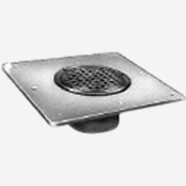 Square Wide Flange Body Roof Drain with Nickel Bronze Tractor Grate