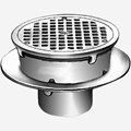Sani-Ceptor® Sanitary Acid Resistant Coated Sanitary Floor and Indirect Waste Drains with Shallow Receptor and Round Nickel Bronze Top