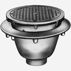 Sani-Ceptor® Sanitary Acid Resistant Coated Sanitary Floor and Indirect Waste Drains with Medium Receptor and Round Nickel Bronze Top