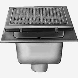 Sani-Ceptor® Sanitary Acid Resistant Coated Sanitary Floor and Indirect Waste Drains with Medium Receptor, Deep and  Extra Deep Receptor and Square Nickel Bronze Top