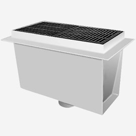 Sani-Ceptor® Sanitary Acid Resistant Coated Sanitary Floor and Indirect Waste Drains with Extra Deep Receptor and Rectangular Nickel Bronze Top