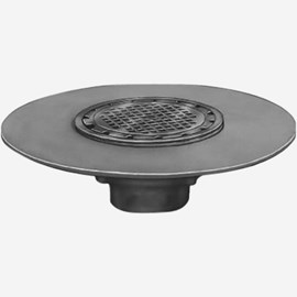 Sani-Ceptor® Sanitary Acid Resistant Coated Sanitary Floor and Indirect Waste Drains with Round Nickel Bronze Tops and Wide Flange